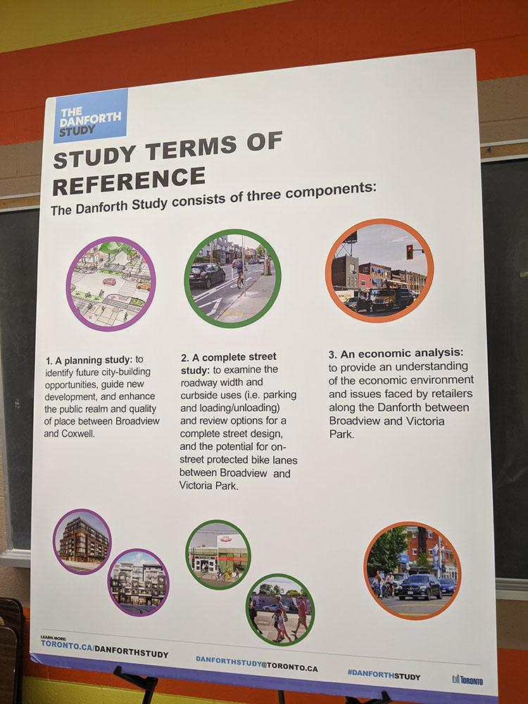 A display board with a title 'Study Terms of Reference' shows the three components of the Danforth Study: 1) A planning study, 2) a complete street study, and 3) an economic analysis.