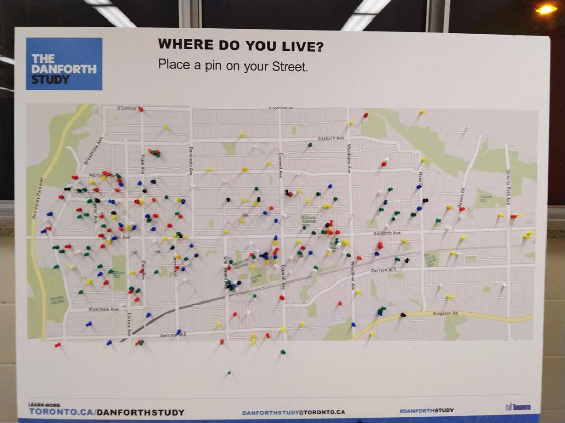 A map displays pins indicating where participants live