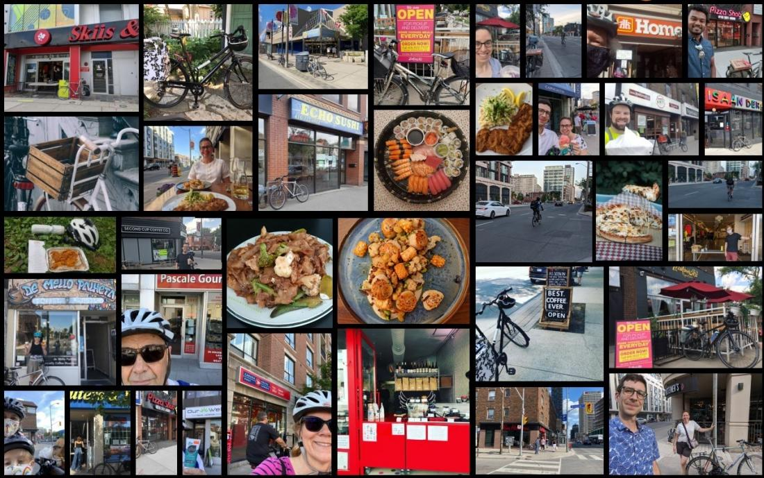 A collage of images. Pictures of food, businesses and selfies.