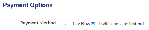 """Select """"I will fundraise instead"""""""