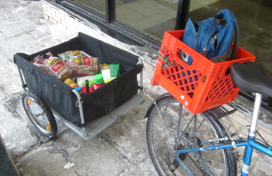 Flatbed bike trailer loaded up with all kinds of groceries
