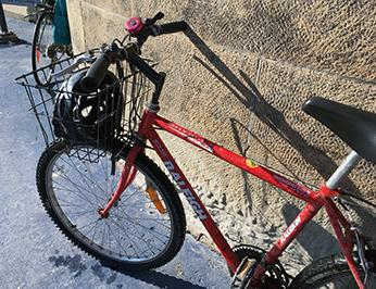 Red bike closeup, ready for winter riding