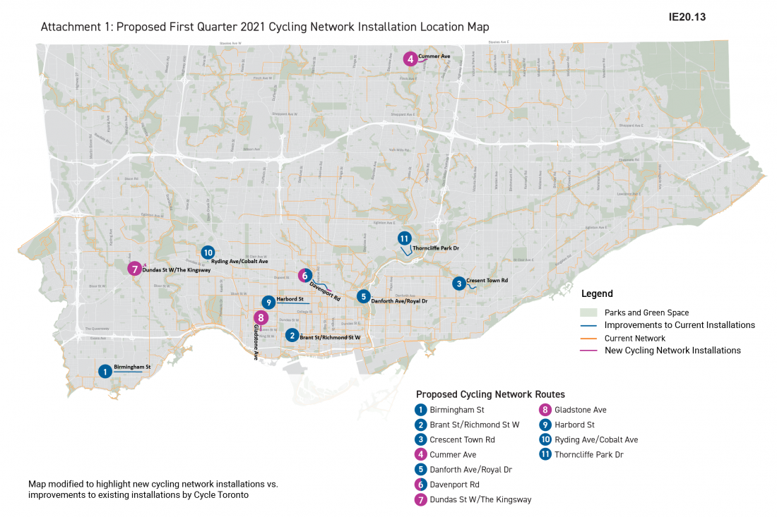 Map of Toronto showing new cycling projects for 2021