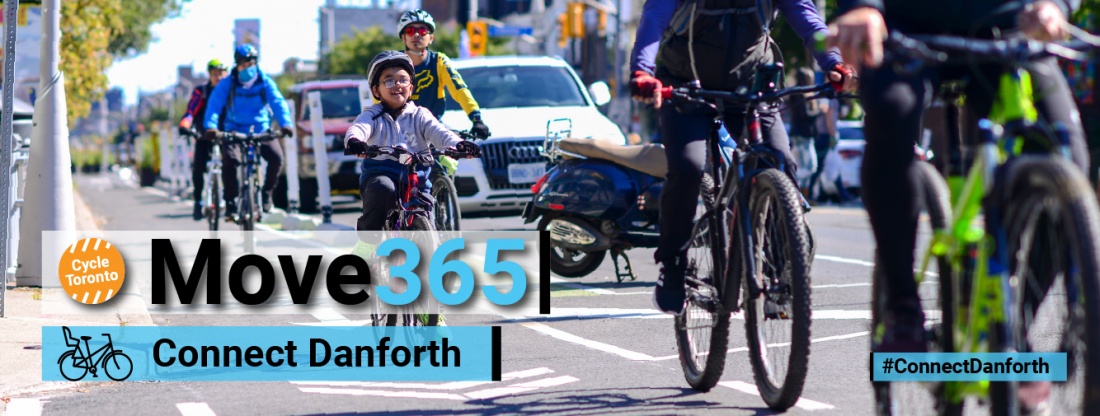 Move 365 Connect Danforth. People, including children ride bikes in a bike lane.