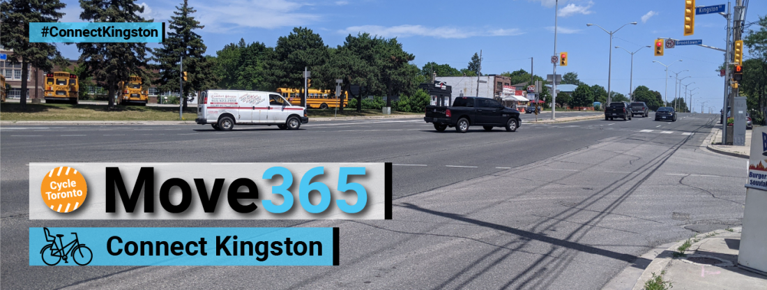 Move 365 Connect Kingston. Wide road running past a school.