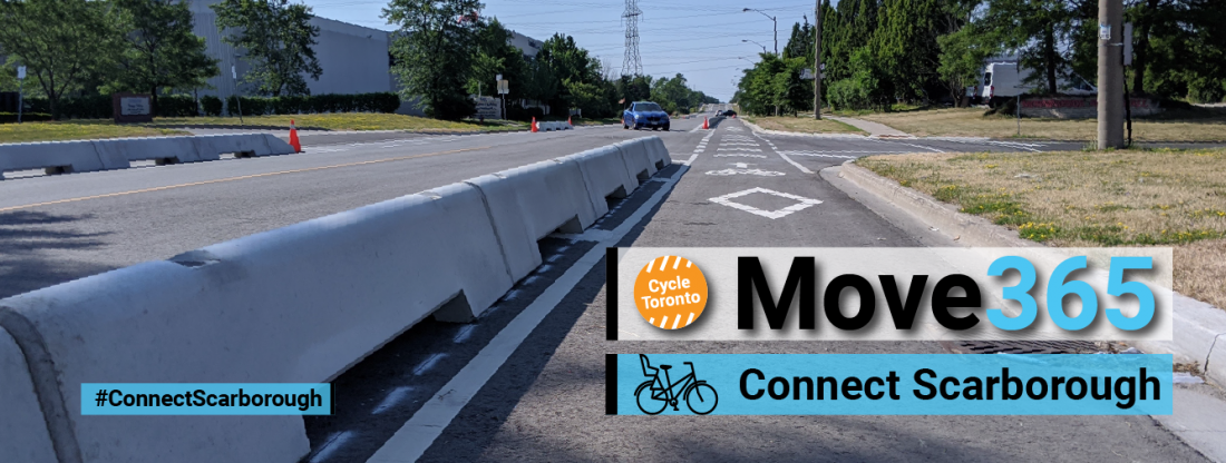 Move 365 Connect Scarborough. A low concrete wall protects a bike lane