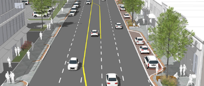 Rendering of a five lane road with no bike lanes