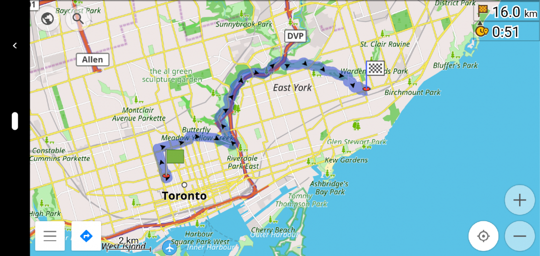OsmAnd route from Cycle Toronto to Danforth Ave and Victoria Park Ave in horizontal orientation.