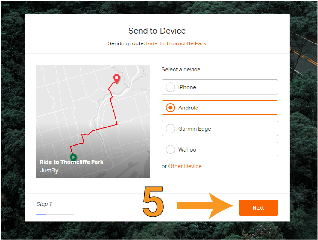 Image showing how to send route to your phone