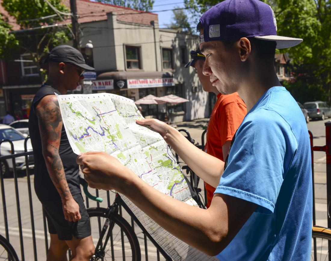 Person looks at a map
