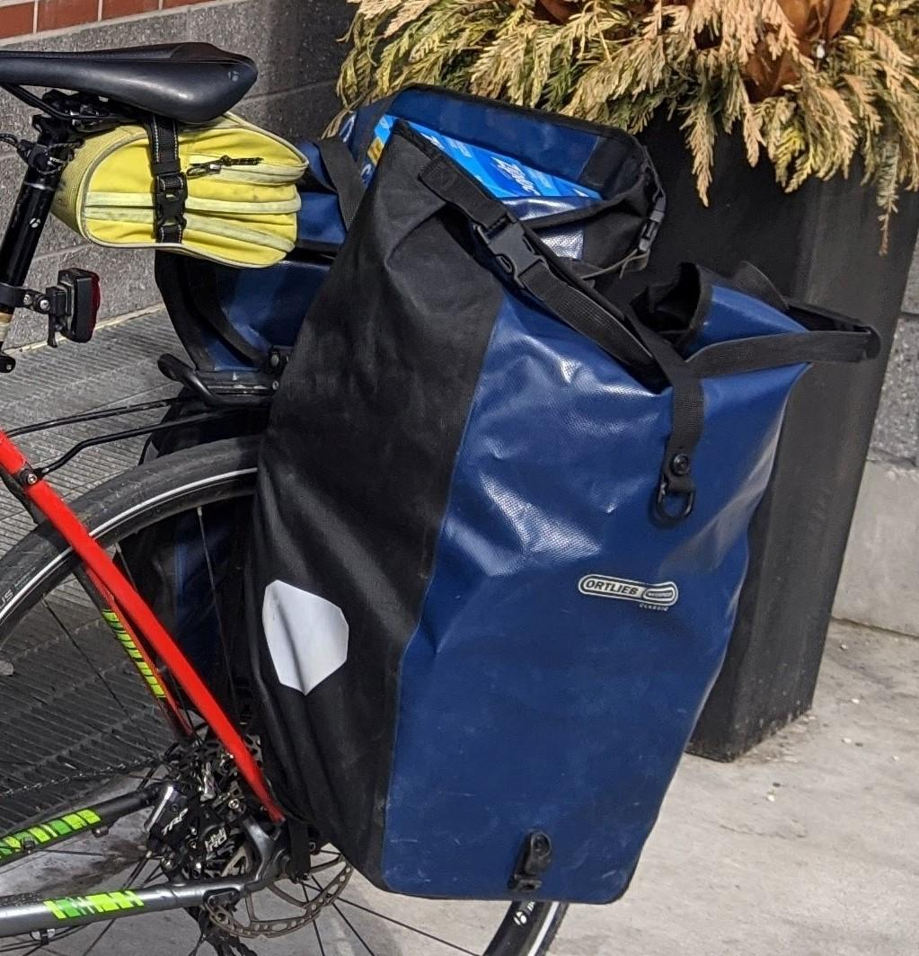 Loaded blue panniers
