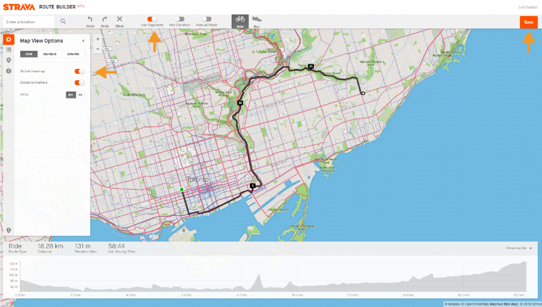 Desktop screenshot of Strava route from Cycle Toronto to Danforth Ave and Victoria Park Ave showing heatmap, popularity and save.