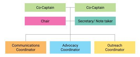 Ward advocacy leadership shown with a complex model, which has two Co-Captains leading the group, a Chair and Secretary or Notetaker reproting to them, and overseeing a Communications Coordinator, Advocacy Coordinator, and Outreach Coordinator
