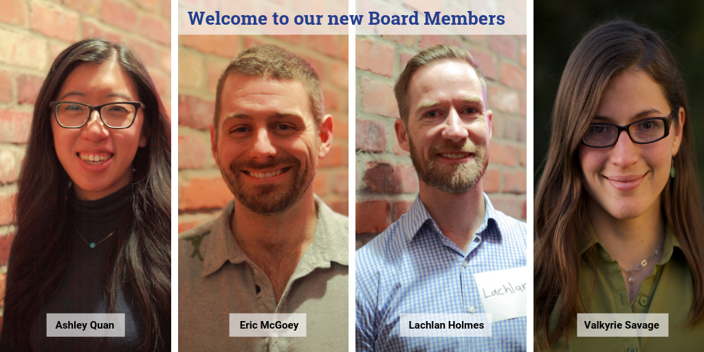 New Board Members Ashley, Eric, Lachlan, and Valkyrie