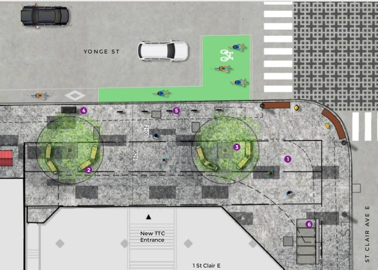 Yonge and St. Clair streetscape design including bike lanes