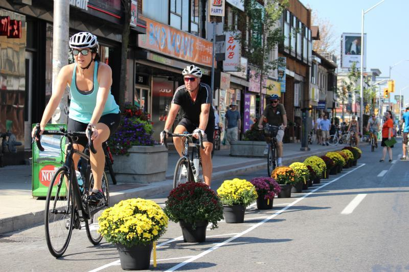 Bloor bike lane pop-up in 2016