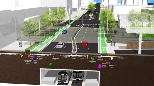 Rendering of a street with bike lanes