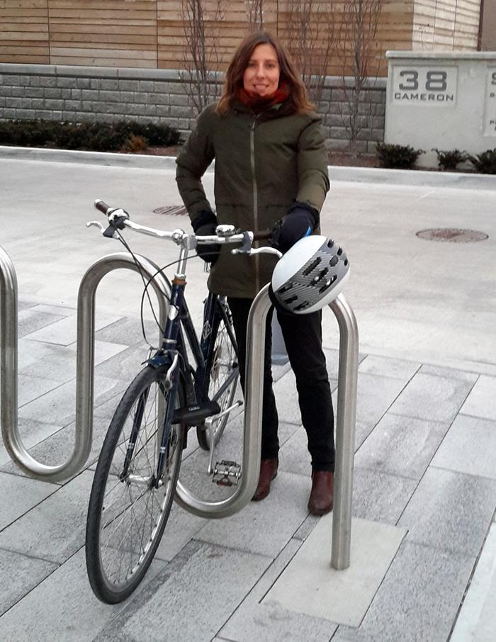 keagan with her bike dressed for winter riding